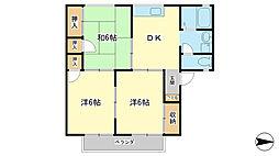 兵庫県姫路市白国1丁目の賃貸アパートの間取り