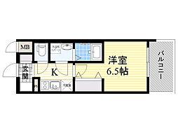 レジュールアッシュ淡路駅前 5階1Kの間取り