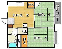 大阪府茨木市西田中町の賃貸アパートの間取り