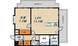 クラウディア野江 4階1LDKの間取り