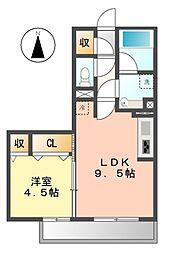 ハーベスト横井[1階]の間取り