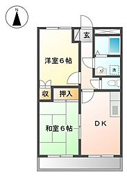 JR姫新線 余部駅 バス25分 刃出下車 4.3kmの賃貸マンション 1階2DKの間取り