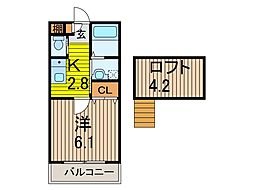 埼玉県蕨市中央5丁目の賃貸アパートの間取り