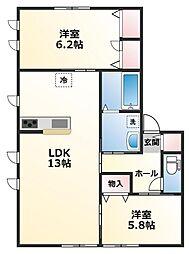 レトア糸井 1階2LDKの間取り