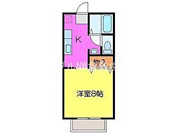 JR山陽本線 西阿知駅 徒歩35分の賃貸アパート 1階1Kの間取り
