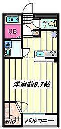 埼玉県越谷市向畑の賃貸アパートの間取り