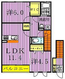 千葉県野田市中根の賃貸アパートの間取り