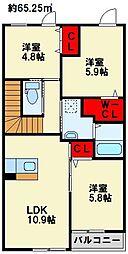 ホワイトバレー東二島[205号室]の間取り