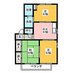 シャンテアミ A・B[2階]の間取り