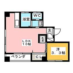 飯島ビル 2階1LDKの間取り