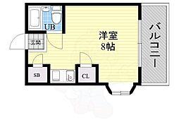 シャトー21 3階ワンルームの間取り