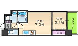 セレニテ福島カルム 4階1DKの間取り