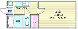 仙台市地下鉄東西線 八木山動物公園駅 徒歩19分の賃貸アパート 1階1Kの間取り