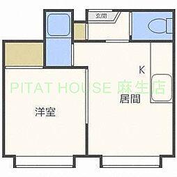 札幌市営南北線 北34条駅 徒歩6分の賃貸アパート 1階1DKの間取り