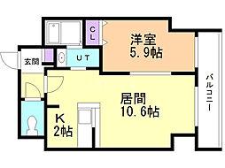 サンコート本郷通ガーデンヒルズ 6階1LDKの間取り
