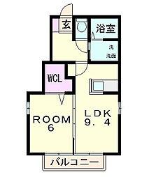 滋賀県東近江市神郷町の賃貸アパートの間取り