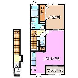 三重県松阪市松崎浦町の賃貸アパートの間取り
