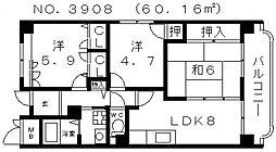 クレセール阿倍野[7階]の間取り