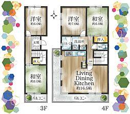 戸建て感覚のメゾネットタイプのお部屋です。家族構成に合わせて間取変更、リノベのご提案も可能です。