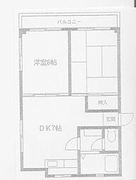 ベルメゾン浅田 3階2DKの間取り