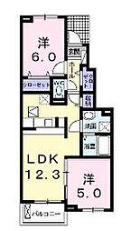広島県福山市山手町6丁目の賃貸アパートの間取り