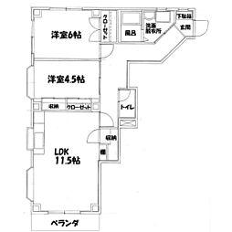 ウイングマンションシモダII[103号室]の間取り