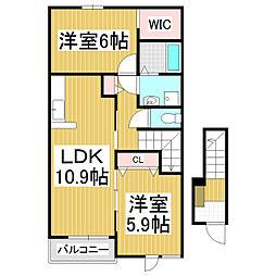 JR中央本線 下諏訪駅 徒歩32分の賃貸アパート 2階2LDKの間取り