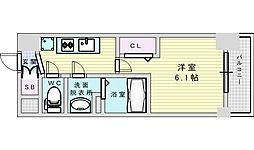 Osaka Metro御堂筋線 西中島南方駅 徒歩4分の賃貸マンション 6階1Kの間取り