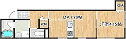 JR牟岐線 二軒屋駅 徒歩10分の賃貸マンション 3階1DKの間取り