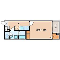 JR関西本線 奈良駅 徒歩7分の賃貸マンション 1階1Kの間取り