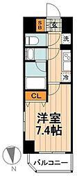 日暮里舎人ライナー 西新井大師西駅 徒歩6分の賃貸マンション 2階1Kの間取り