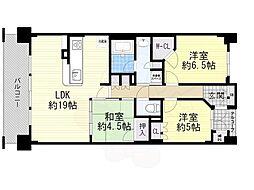 大阪モノレール本線 少路駅 徒歩4分の賃貸マンション 6階3LDKの間取り