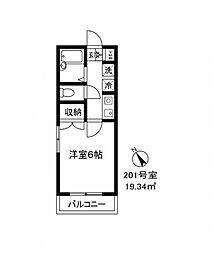 99001 ブリリアント田村[201号室]の間取り