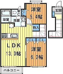 埼玉県川越市上寺山の賃貸アパートの間取り