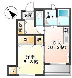 香川県綾歌郡宇多津町新開の賃貸アパートの間取り