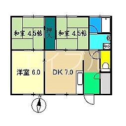 なべしまコーポ[1階]の間取り