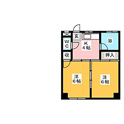 コーポおかむら荘[4階]の間取り