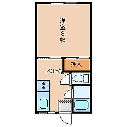 T・Kアパートメント窪[2-D号室]の間取り