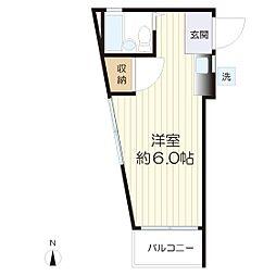 栗谷コーポ[203号室]の間取り