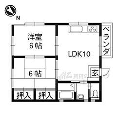 阪急京都本線 桂駅 徒歩9分の賃貸アパート 2階2LDKの間取り