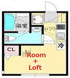 ウィステリア東寺尾 1階ワンルームの間取り