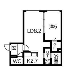 パインハート中の島 2階1LDKの間取り