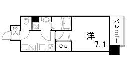ファーストフィオーレ三宮EAST 7階1Kの間取り