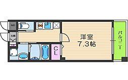 阪神本線 野田駅 徒歩6分の賃貸マンション 1階1Kの間取り