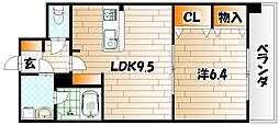 第25エルザビル〜CEREB三萩野〜[4階]の間取り
