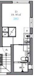 JR山手線 駒込駅 徒歩8分の賃貸マンション 2階ワンルームの間取り