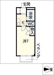 STUDIO岩田寮 H棟 2階1Kの間取り
