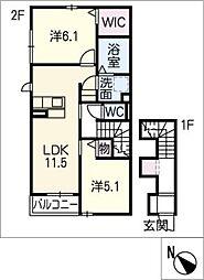 グリーンステージ松井町 A棟[2階]の間取り
