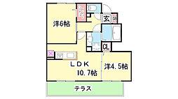 D-room杉尾台 B棟[B-102号室]の間取り