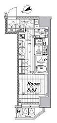 都営三田線 芝公園駅 徒歩8分の賃貸マンション 2階ワンルームの間取り